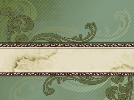 Elegant horizontal green and brown banner design inspired by Victorian style. Graphics are grouped and in several layers for easy editing. The file can be scaled to any size.