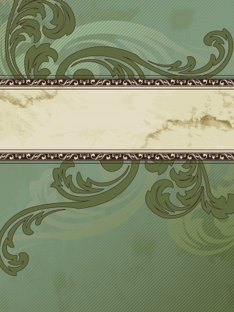 Elegant vertical green and brown banner design inspired by Victorian style. Graphics are grouped and in several layers for easy editing. The file can be scaled to any size. Иллюстрация