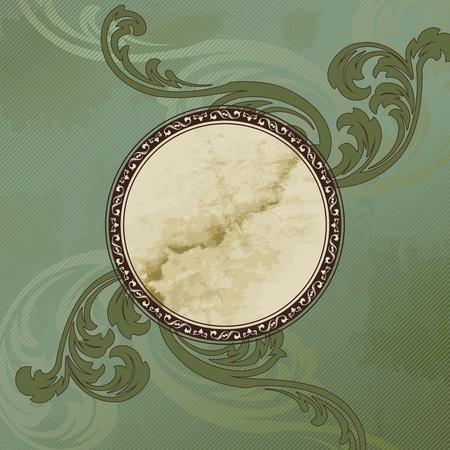 Elegante groen en bruin embleem ontwerp geïnspireerd door de Victoriaanse stijl. Afbeeldingen zijn gegroepeerd en in meerdere lagen voor eenvoudige bewerking. Het bestand kan worden geschaald naar elke grootte. Stock Illustratie