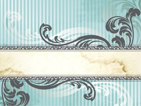Elegant horizontal blue and silver banner design inspired by Victorian style. Graphics are grouped and in several layers for easy editing. The file can be scaled to any size. Vector