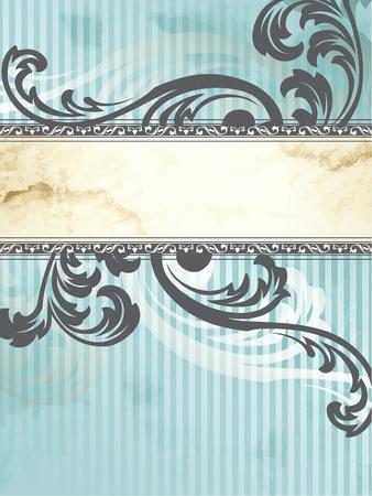 Elegante verticale blauwe en zilveren banner ontwerp geïnspireerd door de Victoriaanse stijl. Afbeeldingen zijn gegroepeerd en in meerdere lagen voor eenvoudige bewerking. Het bestand kan worden geschaald naar elke grootte.