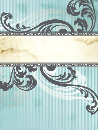 Elegant vertical blue and silver banner design inspired by Victorian style. Graphics are grouped and in several layers for easy editing. The file can be scaled to any size.