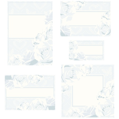 Elegant white and silver designs for wedding invitations, place-cards, etc.. Graphics are grouped and in several layers for easy editing. The file can be scaled to any size.