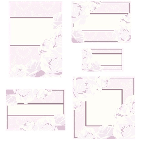 Elegant cream and pink designs for wedding invitations, place-cards, etc.. Graphics are grouped and in several layers for easy editing. The file can be scaled to any size. Vector