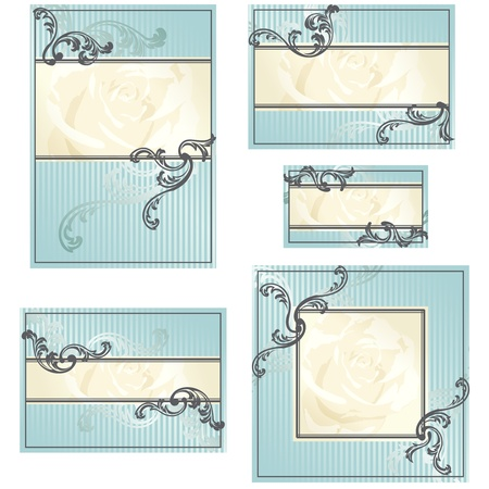 Elegant gold and blue designs for wedding invitations, place-cards, etc.. Graphics are grouped and in several layers for easy editing. The file can be scaled to any size. Stock Vector - 10071978