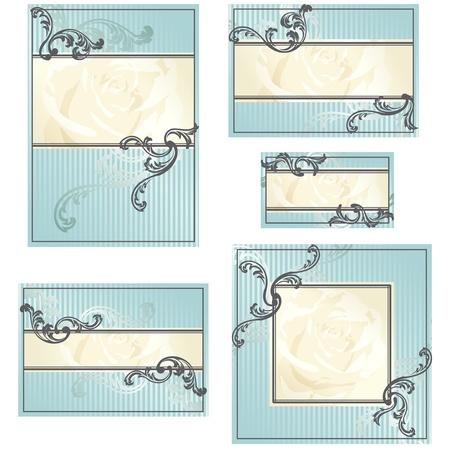 Elegant goud en blauw ontwerpen voor huwelijksuitnodigingen, plaats-kaarten, etc.. Graphics zijn gegroepeerd en in verschillende lagen voor eenvoudige bewerking. Het bestand kan worden geschaald naar elke grootte.