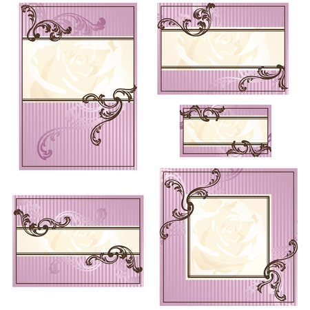 Elegant gold and pink designs for wedding invitations, place-cards, etc.. Graphics are grouped and in several layers for easy editing. The file can be scaled to any size. Ilustracja