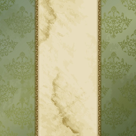 Elegant green and brown banner design inspired by Victorian style. Graphics are grouped and in several layers for easy editing. The file can be scaled to any size. Иллюстрация