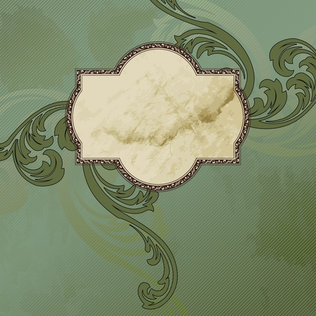 Elegant green and brown label design inspired by Victorian style. Graphics are grouped and in several layers for easy editing. The file can be scaled to any size.