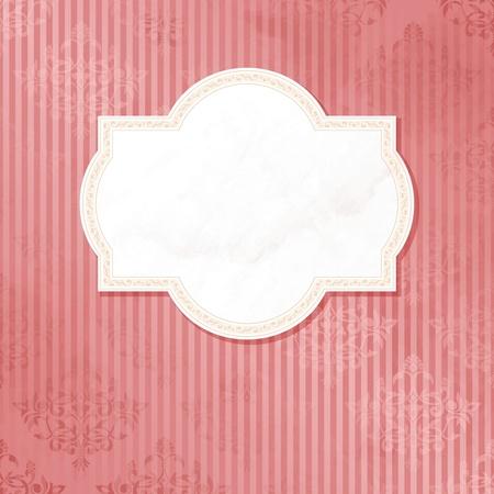 beige stof: Grungy, ingewikkelde roze en wit label design. Graphics zijn gegroepeerd en in meerdere lagen voor eenvoudige bewerking. Het bestand kan worden geschaald naar elk formaat. Stock Illustratie