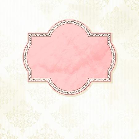Grungy, ingewikkeld roze en wit label design. Graphics zijn gegroepeerd en in meerdere lagen voor eenvoudige bewerking. Het bestand kan worden geschaald naar elke grootte.