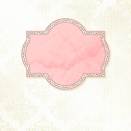 backdrop: Grungy, intricate  pink and white label design. Graphics are grouped and in several layers for easy editing. The file can be scaled to any size.