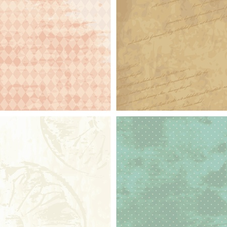 Four grungy backgrounds for Victorian Era designs. Graphics are grouped and in several layers for easy editing. The file can be scaled to any size. Vector