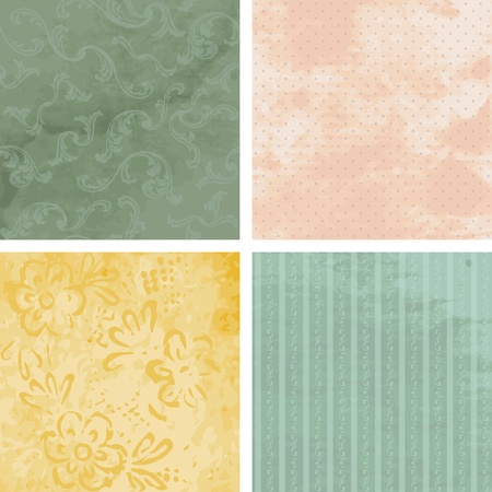 19th century: Four grungy backgrounds for Victorian Era designs. Graphics are grouped and in several layers for easy editing. The file can be scaled to any size.