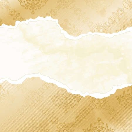 Floral banner in the shape of a torn sepia  wallpaper, inspired by Victorian designs. Graphics are grouped and in several layers for easy editing. The file can be scaled to any size.