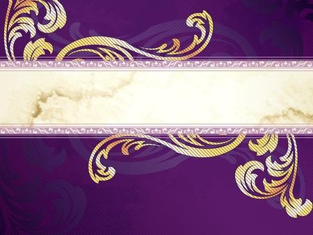 Elegant horizontale goud en paars banner ontwerp geïnspireerd door de Victoriaanse stijl. Graphics zijn gegroepeerd en in meerdere lagen voor eenvoudige bewerking. Het bestand kan worden geschaald naar elk formaat.