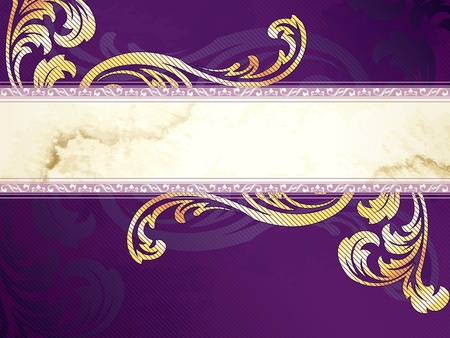 Elegant horizontal gold and purple banner design inspired by Victorian style. Graphics are grouped and in several layers for easy editing. The file can be scaled to any size.