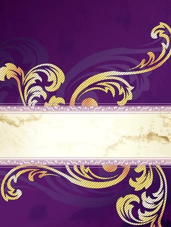 Elegant vertical gold and purple banner design inspired by Victorian style. Graphics are grouped and in several layers for easy editing. The file can be scaled to any size. Vector