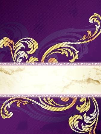 Elegant verticale goud en paars banner ontwerp geïnspireerd op Victoriaanse stijl. Graphics zijn gegroepeerd en in verschillende lagen voor eenvoudige bewerking. Het bestand kan worden geschaald naar elke grootte. Stock Illustratie
