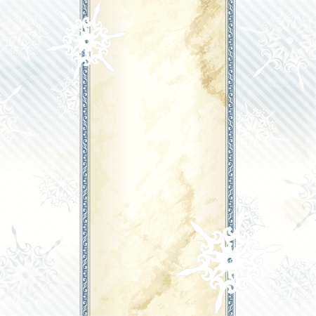 Blue and silver winter banner inspired by Victorian style. Graphics are grouped and in several layers for easy editing. The file can be scaled to any size.