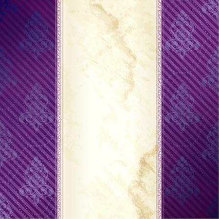 Elegant goud en paars banner ontwerp geïnspireerd op Victoriaanse stijl. Graphics zijn gegroepeerd en in verschillende lagen voor eenvoudige bewerking. Het bestand kan worden geschaald naar elke grootte.