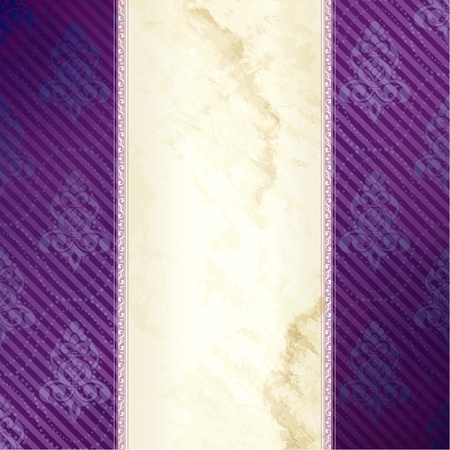 Elegant gold and purple banner design inspired by Victorian style. Graphics are grouped and in several layers for easy editing. The file can be scaled to any size.
