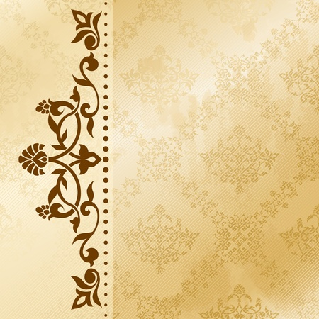 arabesque antique: Elegant satiny floral arabesque background. Graphics are grouped and in several layers for easy editing. The file can be scaled to any size.
