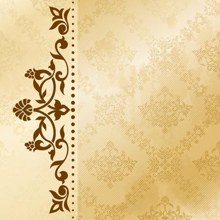 Elegante satijnen bloemen arabesk achtergrond. Graphics zijn gegroepeerd en in verschillende lagen voor eenvoudige bewerking. Het bestand kan worden geschaald naar elke grootte. Stock Illustratie