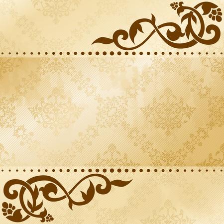 Elegante satijnen bloemen arabesk achtergrond. Graphics zijn gegroepeerd en in meerdere lagen voor eenvoudige bewerking. Het bestand kan worden geschaald naar elk formaat. Stock Illustratie