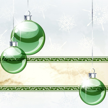 any size: White and green Christmas banner with transparent glass ornaments. Graphics are grouped and in several layers for easy editing. The file can be scaled to any size.