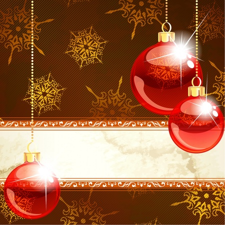 editable invitation: Red and gold Christmas banner with transparent glass ornaments. Graphics are grouped and in several layers for easy editing. The file can be scaled to any size.