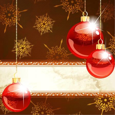 Rode en gouden kerst banner met doorzichtige glazen ornamenten. Graphics zijn gegroepeerd en in meerdere lagen voor eenvoudige bewerking. Het bestand kan worden geschaald naar elk formaat. Stock Illustratie