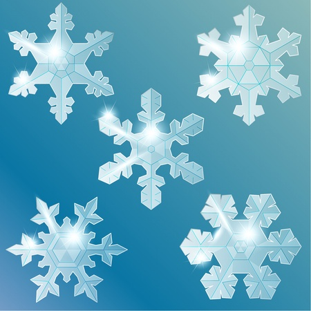 Collection of shiny glass or ice snowflakes. Graphics are grouped and in several layers for easy editing. The file can be scaled to any size.