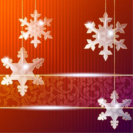 繊細な雪片の装飾と赤のクリスマスのバナー。グラフィックをグループ化および簡単な編集のためのいくつかの層。ファイルは、任意のサイズにス