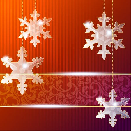 Red Christmas banner with delicate snowflake ornaments. Graphics are grouped and in several layers for easy editing. The file can be scaled to any size. Vector