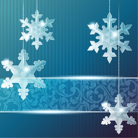 Blue Christmas banner with delicate snowflake ornaments. Graphics are grouped and in several layers for easy editing. The file can be scaled to any size.