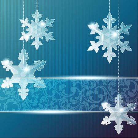 Blue Christmas banner met delicate sneeuwvlok ornamenten. Graphics zijn gegroepeerd en in meerdere lagen voor eenvoudige bewerking. Het bestand kan worden geschaald naar elk formaat.