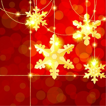 Red and gold Christmas banner with delicate snowflake ornaments. Graphics are grouped and in several layers for easy editing. The file can be scaled to any size. Vector