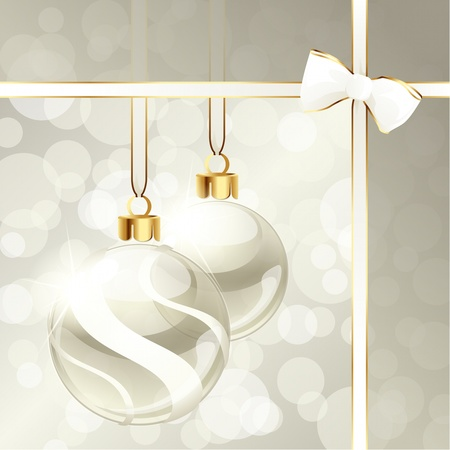 scaled: White and beige banner with transparent Christmas ornaments. Graphics are grouped and in several layers for easy editing. The file can be scaled to any size. Illustration