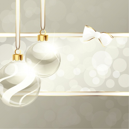 Wit en beige banner met transparante kerst ornamenten. Graphics zijn gegroepeerd en in meerdere lagen voor eenvoudige bewerking. Het bestand kan worden geschaald naar elk formaat. Stock Illustratie
