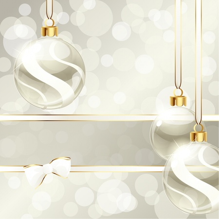 grey: White and beige banner with transparent Christmas ornaments. Graphics are grouped and in several layers for easy editing. The file can be scaled to any size. Illustration