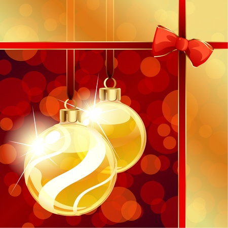 Red and gold banner with transparent Christmas ornaments. Graphics are grouped and in several layers for easy editing. The file can be scaled to any size. Vector