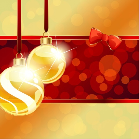event party festive: Red and gold banner with transparent Christmas ornaments. Graphics are grouped and in several layers for easy editing. The file can be scaled to any size.