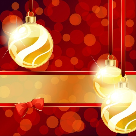 Red and gold banner with transparent Christmas ornaments. Graphics are grouped and in several layers for easy editing. The file can be scaled to any size.
