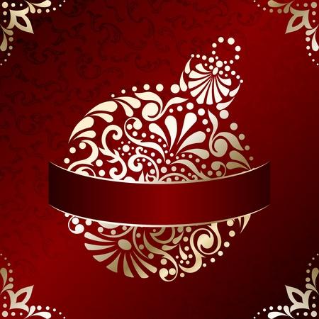 : Rode en gouden kerst illustratie met ingewikkeld ontworpen Kerst ornament. Graphics zijn gegroepeerd en in meerdere lagen voor eenvoudige bewerking. Het bestand kan worden geschaald naar elk formaat.