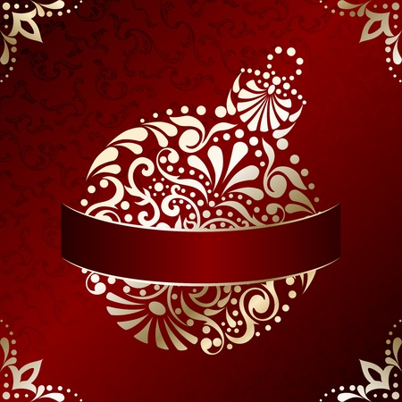 : Red and gold Christmas illustration with intricately designed Christmas ornament. Graphics are grouped and in several layers for easy editing. The file can be scaled to any size.