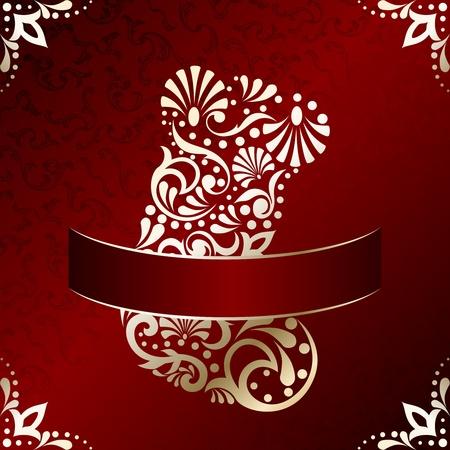 Rode en gouden kerst illustratie met ingewikkeld ontworpen kerstsok. Graphics zijn gegroepeerd en in meerdere lagen voor eenvoudige bewerking. Het bestand kan worden geschaald naar elke grootte.