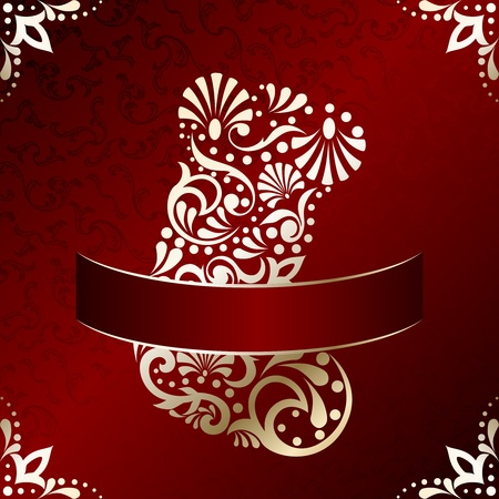 Red and gold Christmas illustration with intricately designed Christmas stocking. Graphics are grouped and in several layers for easy editing. The file can be scaled to any size.