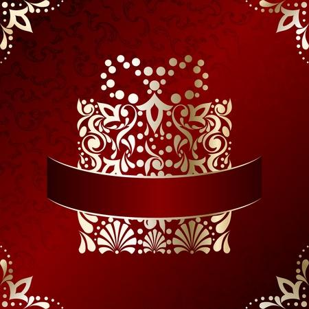 Rode en gouden kerst illustratie met ingewikkeld ontworpen kerstcadeau. Graphics zijn gegroepeerd en in meerdere lagen voor eenvoudige bewerking. Het bestand kan worden geschaald naar elke grootte. Stockfoto - 11095754