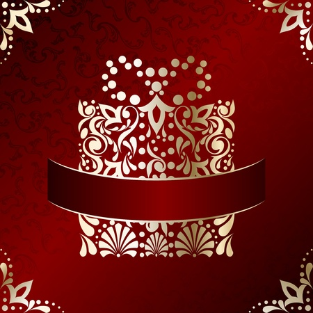 Red and gold Christmas illustration with intricately designed Christmas present. Graphics are grouped and in several layers for easy editing. The file can be scaled to any size. Illustration